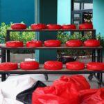 almofada zafu e espreguicadeira preguicosa vermelha (1)